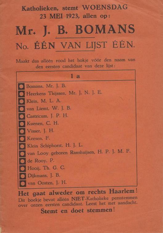 Voorzijde brochure: Katholieken stemt woensdag 23 mei 1923 allen op mr.B.Bomans, no. EEN op lijst EEN.