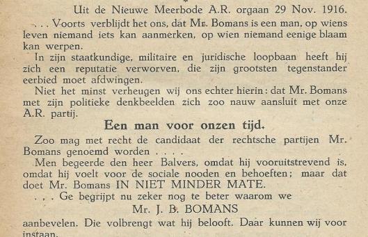 'Een man van onzen tijd': mr. Bomans. Uit: De Nieuwe Meerbode van 29 november 1916.