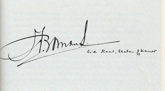 Signatuur J.M.Bomans, lid Kamer, Staten, Raad