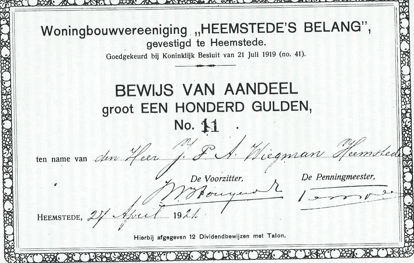 Woningbouwvereeniging 'Heemstede's Belang' , bewijs van aandeel J.P.A.Wiegman uit 1921