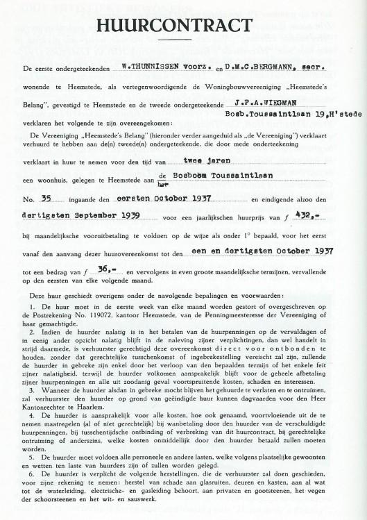 Huurcontract J.P.A.Wiegman, Bosboom Toussaintlaan 19, 1937