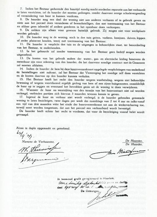 Vervolg huurcontract J.P.A.Wiegman, Bosboom Toussaintlaan 19, 1937.