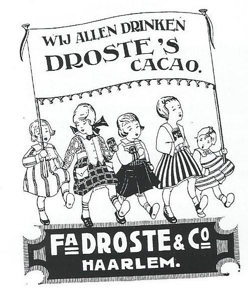 Reclame voor Droste, in 1897 aan het Noorder Buiten Spaarne gevestigd