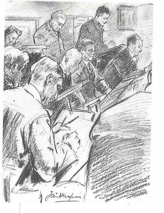 Tekenavond bij KZOD in 1932 door Jan Wiegman in een schets vastgelegd.