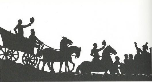 'De keizer verbannen, Oranje keert weer', aankomst van de prins van Oranje vanuit Engeland in Scheveningen. 'Zwart-wit' uit schimmenspel 'Oranje en Nederland' van Jan Wiegman voor de Waagspelers.