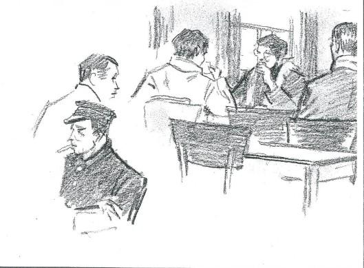 Tekening van Jan Wiegman gemaakt in café-koffiehuis 't Hoekje bij het station Heemstede-Aerdenhout