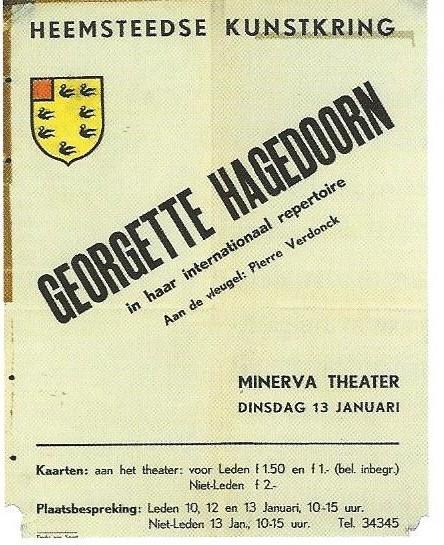 Aankondiging voor het optreden van de actrice en zangeres Georgette Hagedoorn voor de Heemsteedse Kunstkring in Minerva