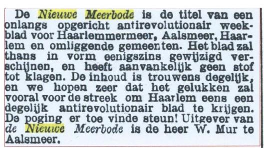 Bericht over oprichting van de Nieuwe Meerbode uit 'de Standaard' van 14-9-1888