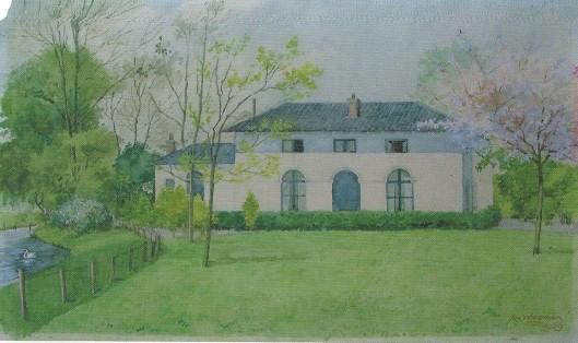 Aquarel van tuinmanswoning 't Clooster/Hageveld door Jan Wiegman uit 1959