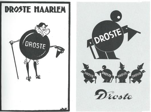 Droste mannetje met links ontwerp van J. Wiegman (1923) en rechts van A.M.Cassandre (1930). Uit: Chocolade in de kunst. Uitgave van Van Nelle, 1988