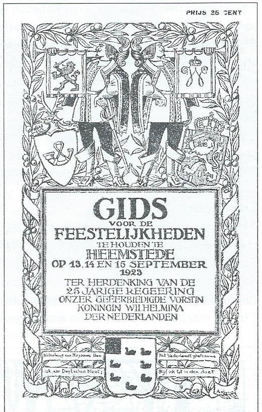 Omslag van Gids voor de feestelijkheden te houden in Heemstede ter gelegenheid van het 25-jarig regeringsjubileum van koningin Wilhelmina in 1923. Ontwerp door Jan Wiegman