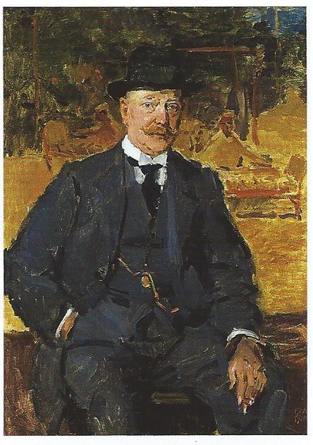 Kunsthandelaar J.Slagmulder geschilderd door Isaac Israëls. Hij liet in Oosterhoutlaan nr.20 de villa 't Spaarne bouwen in Engelse landhuisstijl