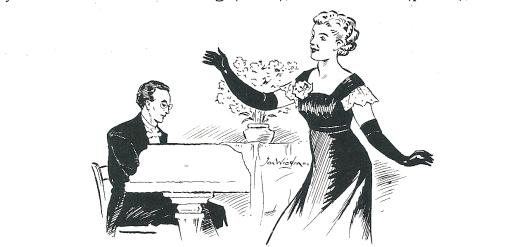 Voordrachtskunstenares Georgette Hagedoorn met aan de vleugel Pierre Verdonck traden 13 juni 1953 op in het Minerva Theater in aanwezigheid van 514 bezoekers van de Heemsteedse Kunstkring. jan Wiegman legde dit tafereel vast in een schets.
