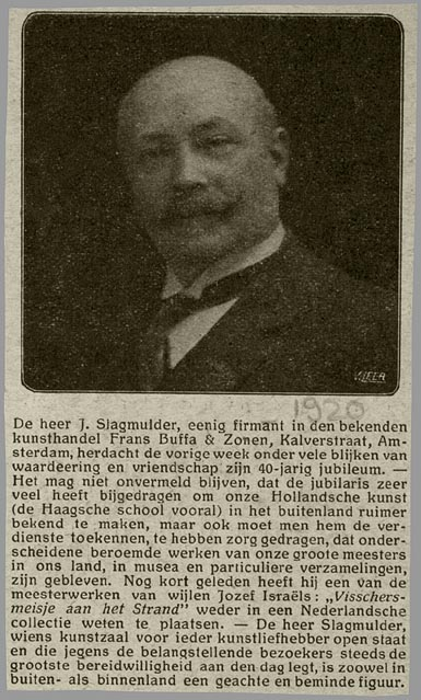 Necrologie J.Slagmulder (Geheugen van Nederland, 1920)
