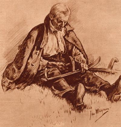 Maaier haart zijn zeis. Uit: Katholieke Illustratie van 1926