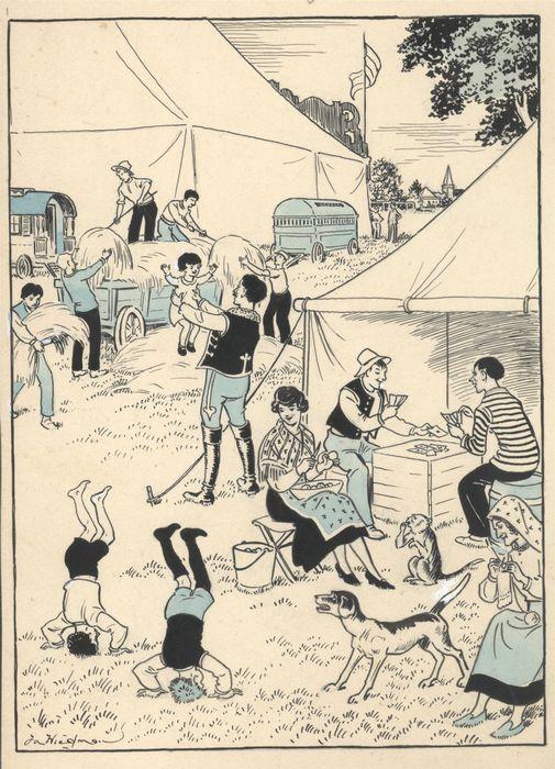 Tekening van Jan Wiegman in O.I.inkt en aquarelverf, getiteld: circusfamilie.