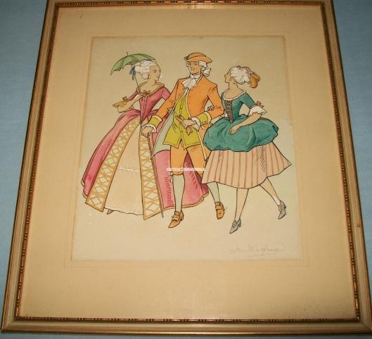 Jan Wiegman: een heer begeleidt twee dames. Pastelkleuren.