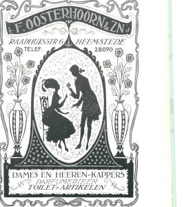 Jan Wiegman: reclame voor kapper Oosterhoorn, Raadhuisstraat Heemstede