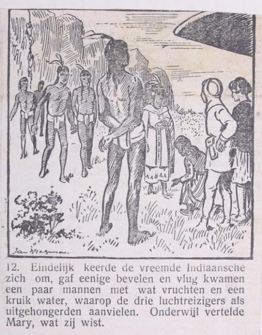 Illustratie door Jan Wiegman. Uit: Avonturen van Mol Zwartpels en Knaagtand de Rat. Moderne Zeerovers en Engelse Kapers. Krantenstrip uit circa 1930.