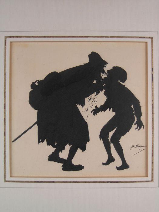Jan Wiegman: silhouet voor boek 'Lazarillo de Thormes'
