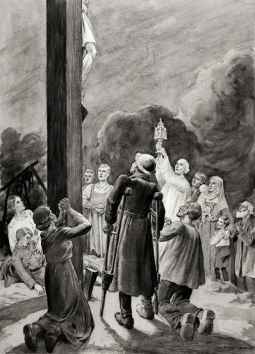 Jan Wiegman: potloodtekening van Christus aan het kruis, 1946.