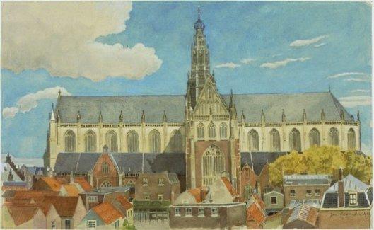 Jan Wiegman: aquarel van St. Bavokerk en zuidzijde (NHA)