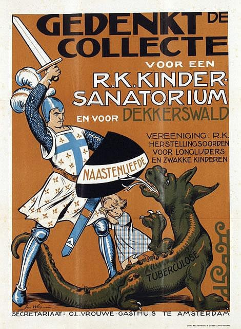 Affiche voor collerte r.k. kindersanatorium Dekkerswald; door Jan Wiegman. Circa 1925