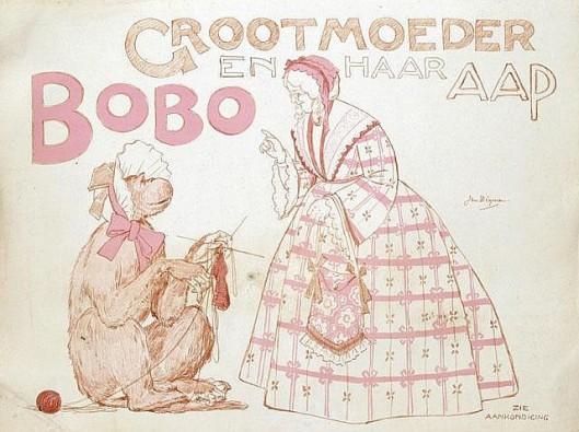 Affiche voor 'Grootmoeder en haar aap Bobo' door Jan Wiegman (in 2011 geveild bij Van Sabben)