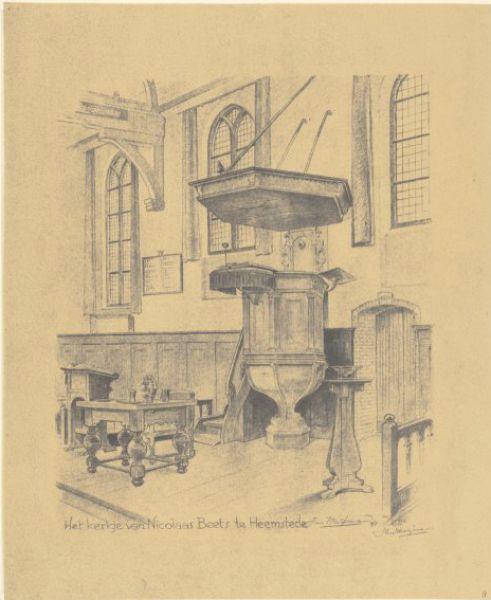 Interieurtekening van preekstoel in de Oude Kerk Heemstede, door Jan Wiegman