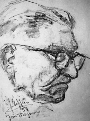 Door J.C.Stoffels bij KZOD in 1957 vervaardigde tekening in houtskool van Jan Wiegman