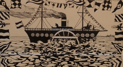 Jan Wiegman; originele boekillustratie in Oost-Indische inkt uit 1930, in 2012 geveild bij Zwiggelaar Auctions.