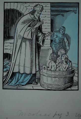 Jan Wiegman: Sint Nicolaas. 1 van 5 originele boekillustraties in 2010 geveild bij Zwiggelaar Auctions.