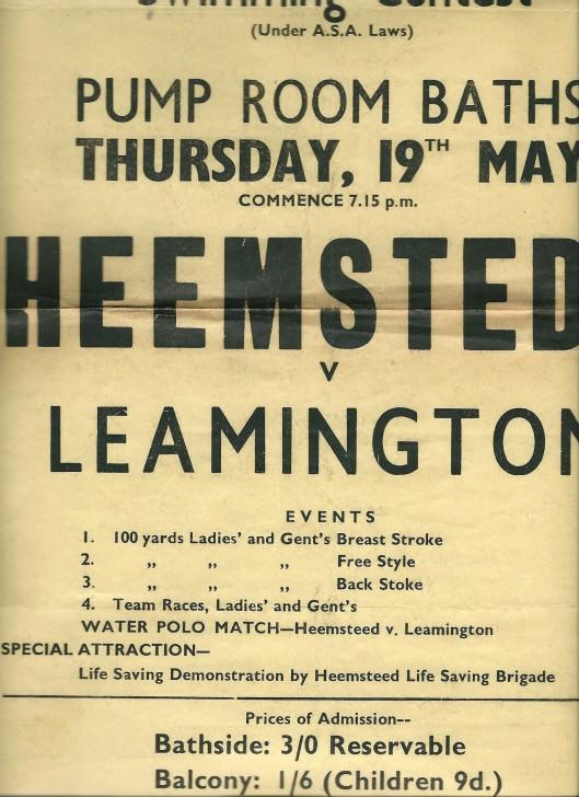 Affiche uit 1949 van zwemwedstrijden tussen Heemstede en Leamington Spa in de Pump Room Baths, ruimschoots door de Nederlandse deelnemers gewonnen.