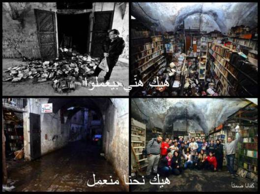Brandstichting van de Al-Saeh bibliotheek van priester Sarrouj leidde tot heftige discussies in Tripoli. De personen rechtsonder gefotografeerd willen al het mogelijke bijdragen tot herbouw en vervanging van verloren gegane boeken