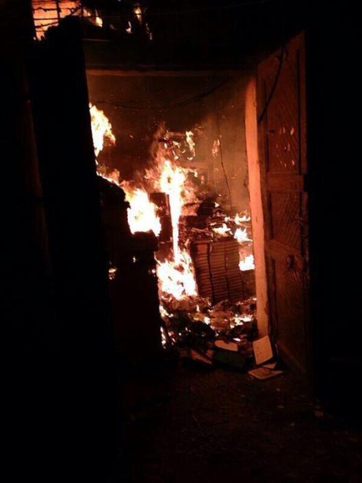 Al-Saeh bibliotheek in Tripoli in brand