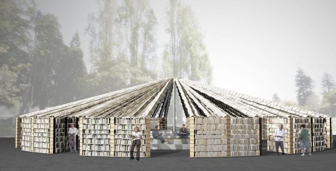 Lacona-ptoject: ontwerp voor een bibliotheek opgebouwd uit meer dan 50.000 boeken voor het Bay Area Book Festival, juni 2015 in Berkeley, California.