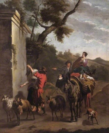 Stopplaats bij een ruïne door of in de stijl van de in Haarlem geboren kunstschilder Nicolaes Pietersz. Berchem (1620-1683). Leamington Art Gallery & Museum