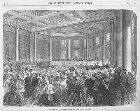 Opening van de eerste echte openbare uitleenbibliotheek in 1865. De bakermat van de 'public library movement' is Engeland, begonnen omstreeks 1850