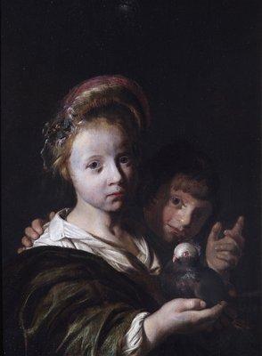 Jan de Bray (1627-1673): Twee kinderen en een duif, 1653. Jan de Bray was lid van het Sint Lucasgilde en is begraven in de Oude of Sint Bavokerk te Haarlem.