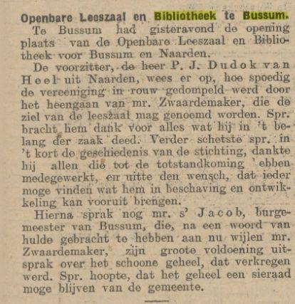 Opening Openbare Leeszaal en Bibliotheek Bussum. Bericht uit Algemeen Dagblad van 22-4-1914