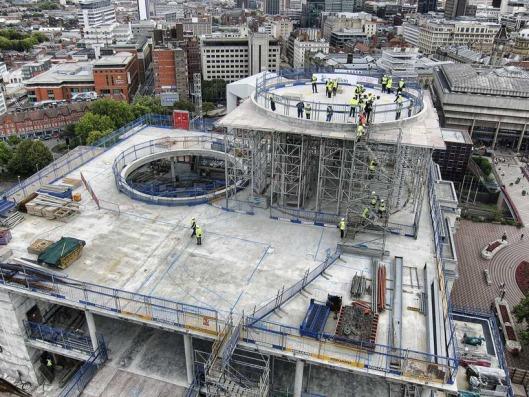 Constructie van het bibliotheekgebouw Birmingham in 2012