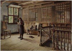 Interieur van de librije bij de Westerkerk in Enkhuizen op een tekening van J.P.C.Grolman (1841-1927)