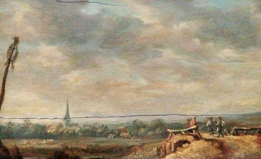 Landschap met brug. Schilderij naar Jan van Goyen. Art Gallery & Museum Royal Leamington Spa