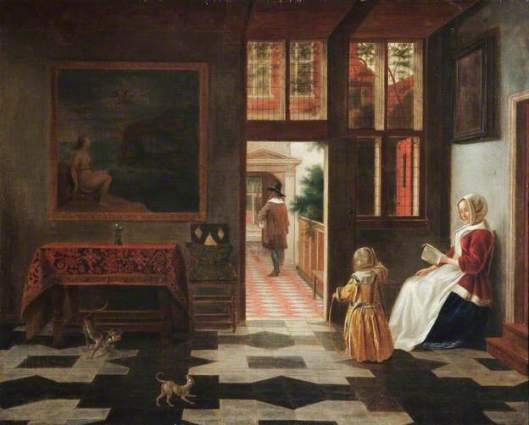 Hollands interieur naar Pieter de Hooch (1629-1684). Leamington Art Gallery & Museum