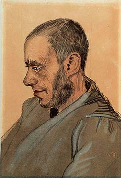Portret van de Joodse boekverkoper Jozef Blok, getekend door Vincent van Gogh (Coll. Van Gogh Museum Amsterdam)