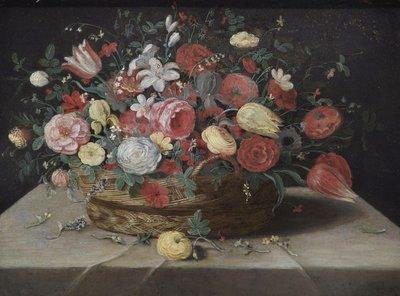 Schilderij van een stilleven: mand met bloemen aanwezig in Leamington Spa Art Gallery & Museum. Niet gesigneerd en vroeger ten onrechte toegeschreven aan Jan van Breughel. Tegenwoordig aan (atelier van) Jan van Kessel de Oudere (1641-1680).