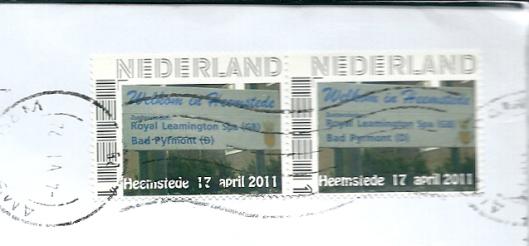In 2011 verschenen postzegel, uitgegeven bij gelegenheid van 25 jaar officiële jumelage met Royal Leamington Spa en 10 jaar met Bad Pyrmont