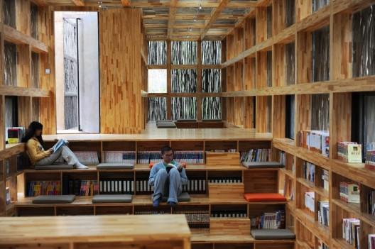 Interieurfoto van Li Yuan bibliotheek in China