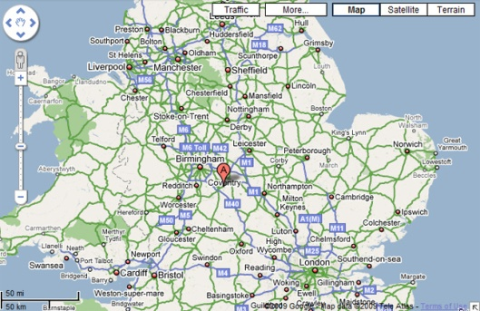 De geografische ligging van Royal Leamington Spa nabij Coventry