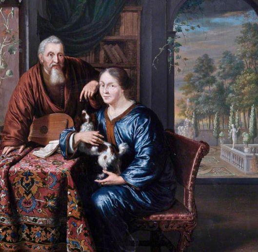 Het 'Leamington Art Gallery & Museum' bezit een mooie collectie 16e en 16e eeuwse schilderijen van Vlamingen en Hollanders. O.a. dit olieverfdoek van Willem van Mieris (1662-1747) uit tussen 1700 en 1720, dat een Hollandse koopman en zijn echtgenote op hun buitenplaats voorstelt